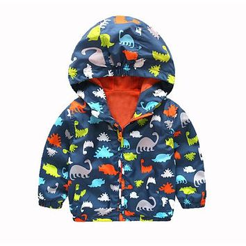 Autumn 2016 Kid Boys Children Hooded Waterproof Windbreak Outerwear Rain Coat Jacket Clothes