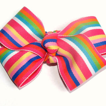 bright striped hairbow- summer accessories- girls fashion