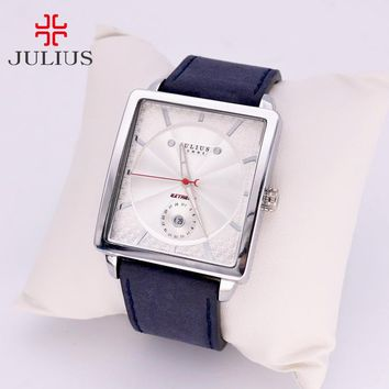 Thick Leather Men's Watch Japan Quartz Hours Retro Fashion Dress Clock Bracelet Boyfriend Birthday Gift Box Julius 023