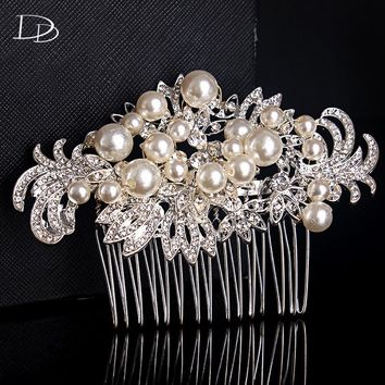 new especially women hair imitated pearl jewelry trendy design bridal head hair accessories wedding engagement flowers comb A005