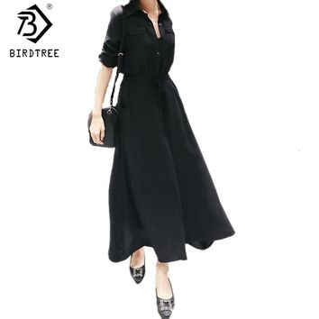 Fashion 2017 New Black Shirt Maxi Dresses For Women Long Sleeves Slim Sexy Split Lace Up Dress Female Casual Clothes Hot D7N947A