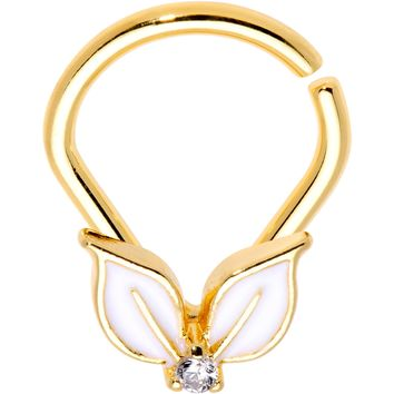 """14 Gauge 3/8"""" Clear CZ Gold PVD White Leaves Ellipse Septum Ring"""