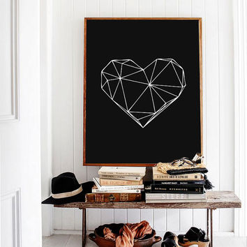 "White on Black Geometric Heart, Scandinavian Design Geometric Art Poster 70x100, 24x36"", 50x70, A4"