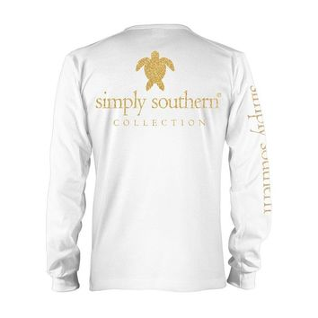 Long Sleeve T-Shirt - Gold Turtle - Tee Color White