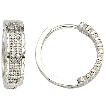 Sterling Silver Micropave CZ Huggie Hoop Earrings 17mm x 5mm