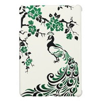 Black, emerald foil peacock & cherry blossoms case for the iPad mini from Zazzle.com