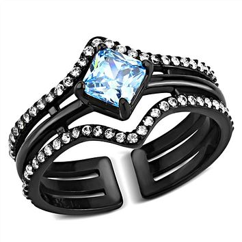 WildKlass Stainless Steel Ring IP Black(Ion Plating) Women AAA Grade CZ Sea Blue