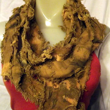 Long Rust Yellow Upcycled Recycled Tattered and by twazzy on Etsy