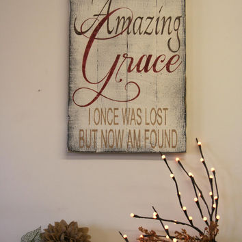 Amazing Grace Distressed Wood Sign Pallet Wood Sign Distressed Wood Sign Religious Christian Wall Decor Housewarming Gift Vintage Wood Sign
