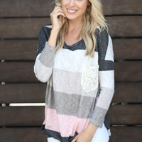 Pink And Gray Top With Crochet Pocket
