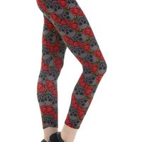 Junior's Skull Red Rose Valentine's Day Leggings Red/Gray: OS/Plus