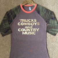 Trucks Cowboys and Country Music - Camo Raglan - Ruffles with Love - Country Shirt