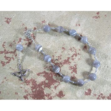Artemis Pocket Prayer Beads in Grey Lace Agate: Greek Goddess of  the Wild, Protector of Young Women