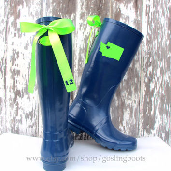 Custom Seattle WA State Love Navy Rain Boots with Lime Green Bows
