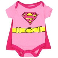 Pink SUPERGIRL Baby Superhero One-Piece Costume Creepers With Detachable Capes