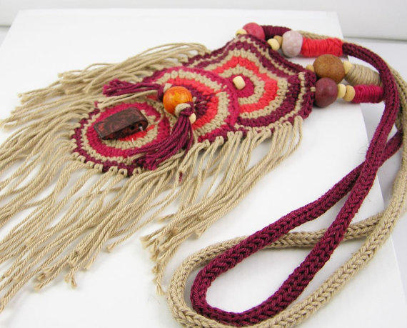 necklace crochet knit cotton ethnic inspired tribal by piabarile