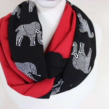 Black Red Elephant Scarf, Elephant Print Scarf, Elephant Scarf,Black White Elephant Loop Scarf, Elephant Pattern Scarf, For Her, Scarf Angel