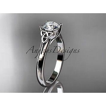 14kt white gold celtic trinity knot wedding ring, engagement ring CT7154