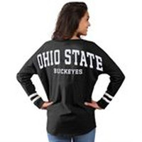 Ohio State Buckeyes Women's Cheer Long Sleeve Jersey T-Shirt - Black