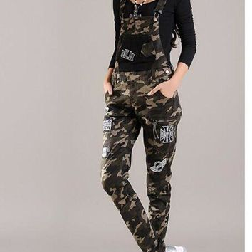 VONG2W 2016 Spring Student Young Womens Denim Jumpsuit Camouflage elastic harem pants plus size skinny jean overalls badge applique