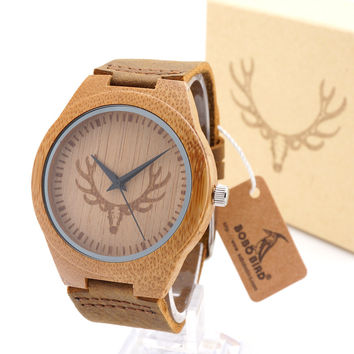100% Handmade Mens Solid Bamboo Wood Quartz Watch