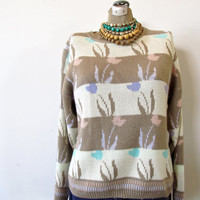 christmas sweater. vintage 70s oversized sweater.