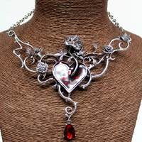 Heart And Rose Silver Color Metal And Red With Pendant 145162