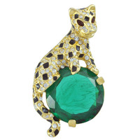 Kenneth Jay Lane Large Emerald Tiger Brooch | SOPHIESCLOSET.COM | Designer Jewelry & Accessories