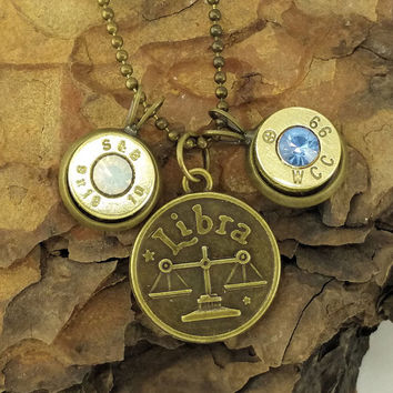 "18-28"" Libra Zodiac Charm with Bullet and Matching Birthstone Necklace - Brass Color"
