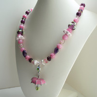 Pink Umbrella Necklace