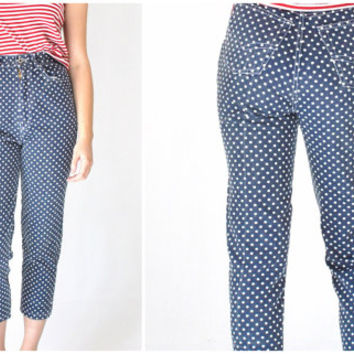 80s POLKA DOT skinny jeans vintage 1980s high waisted PREPPY pedal pusher tapered denim pants