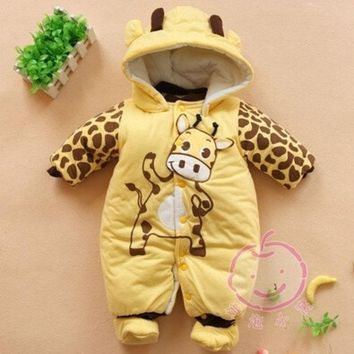 DCCKIX3 2014 new Baby Boys And Girls Jumpsuit Animal Giraffe Print Romper Cotton-padded Clothes = 1929645636