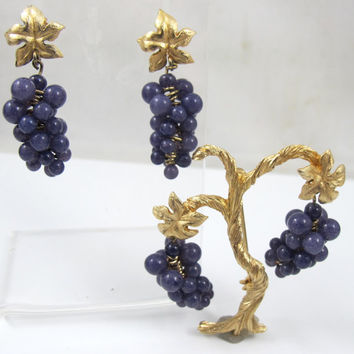 Vintage Grape Cluster Brooch Earring Set, Grapevine, Tree Of Life, Grape Cluster, Purple Amethsyt Art Glass