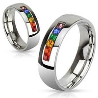 Refraction - Six Gem Stones Representing Colors Of Rainbow Stainless Steel Comfort Fit Ring