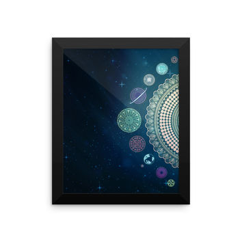 Mandala Galaxy Art Print Framed Design Blue Solar System