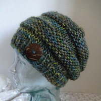 Knit Hat, Blue Green Beanie, Chunky Knit Winter Hat, Banded Hat, Bulky Cap, Wool Mohair Hat