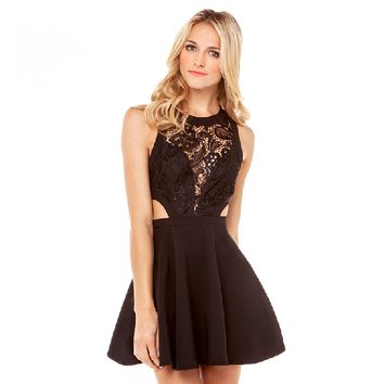 Sexy Lace Blocking Cut-out Sleeveless Dress