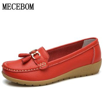 Shoes Woman Leather Women Shoes Flats Colors footwear Loafers Slip On Women's Flat Shoes Moccasins Plus Size 5272W