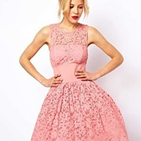 ASOS Prom Dress In Lace With Elastic Waist at asos.com