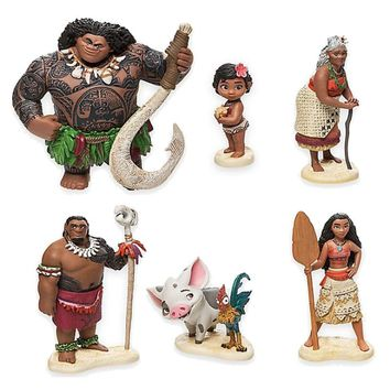 6Pcs/lot Princess Moana Maui Chief Tui Gramma Tala Rooster pig Pua Action Figure 6-12cm vaiana Toy For Girls