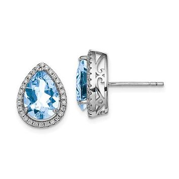 Sterling Silver Created Aquamarine Pear & CZ Post Earrings
