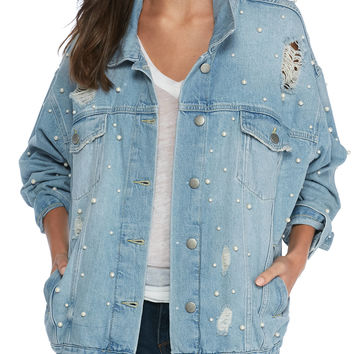 Free People Pearl Applique Denim Jacket