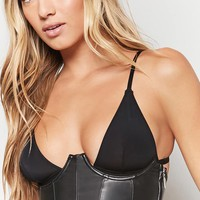 Faux Leather Lace-Up Corset
