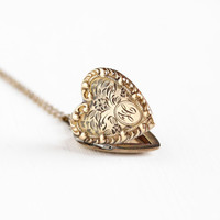 "Vintage 10k Gold Filled Floral Heart Initial ""H"" Locket Necklace - 1940s WWII Era Sweetheart Chased Flower Monogrammed Personalized Jewelry"