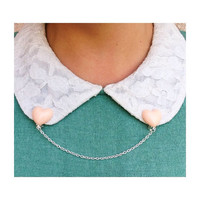 Handmade Peach Pastel Heart Collar Clips with Silver Chain