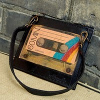 Hand-made Leather Bag with a Print of a Vintage Cassette from Witty and Charming | Made By Myself | 27.00 | Bouf