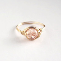 Brass Champagne Peach Ring - unique rings