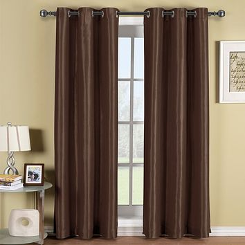 CHOCOLATE 42x63 Soho Grommet Thermal coating Blackout Window Curtain Panel