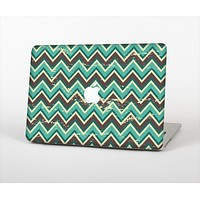 The Vintage Green & Tan Chevron Pattern V4 Skin Set for the Apple MacBook Air 11""