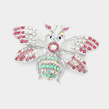 Colorful Stone Pave Honey Bee Pin Brooch